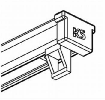 Complete rail met rollers, eindkappen en plafonsteunen